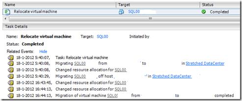 SQL live storage vmotion