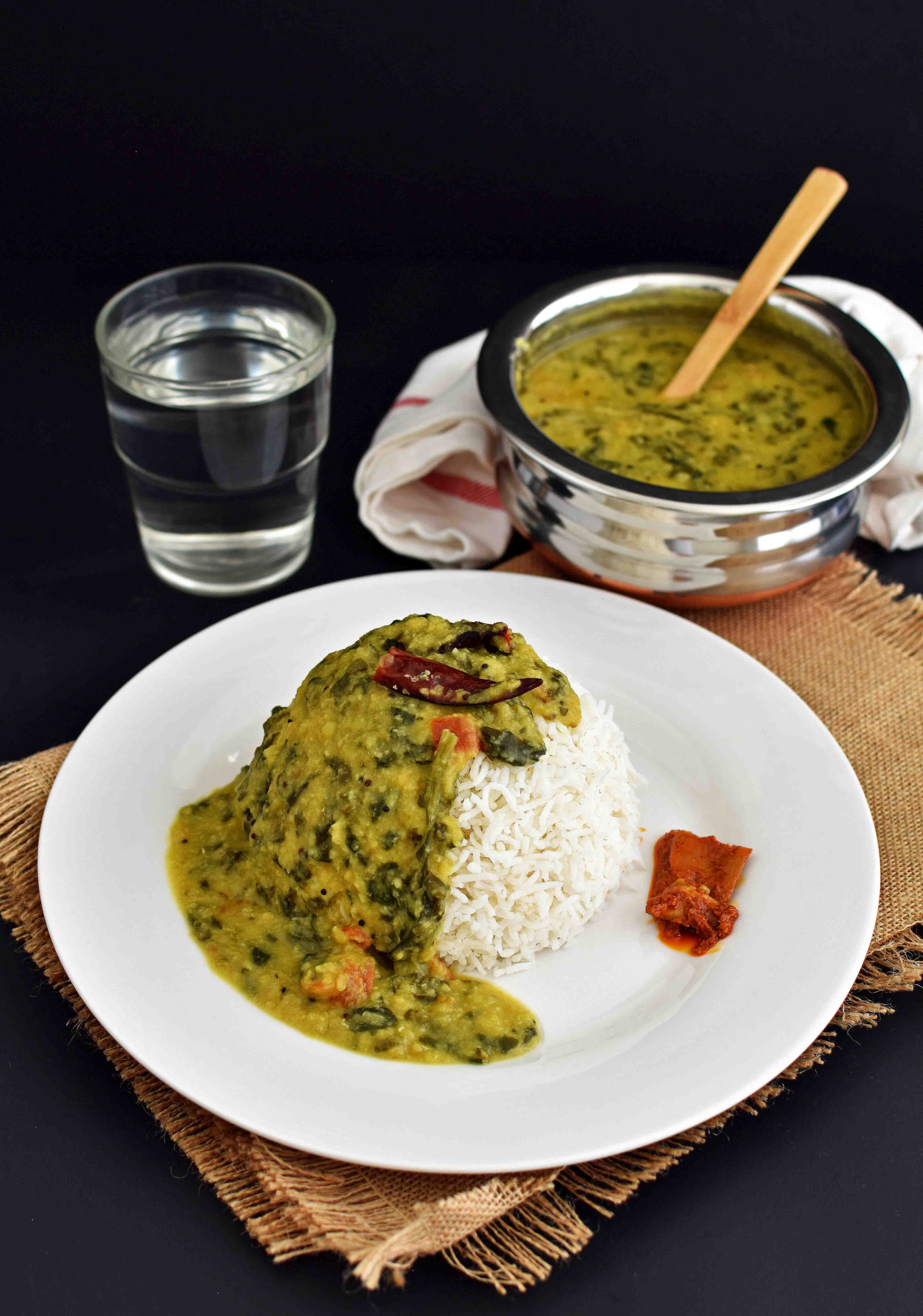 Spinach Lentil Curry / Palak Toor Dal - Pepper Delight #recipe #lentils #dal #spinach #indian