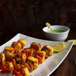 Paneer Kebab with Cilantro Mint Chutney - Pepper Delight #pepperdelightblog #recipe #paneer #kebab #kabab #indianrecipes #skewers #tofu #appetizers #starters