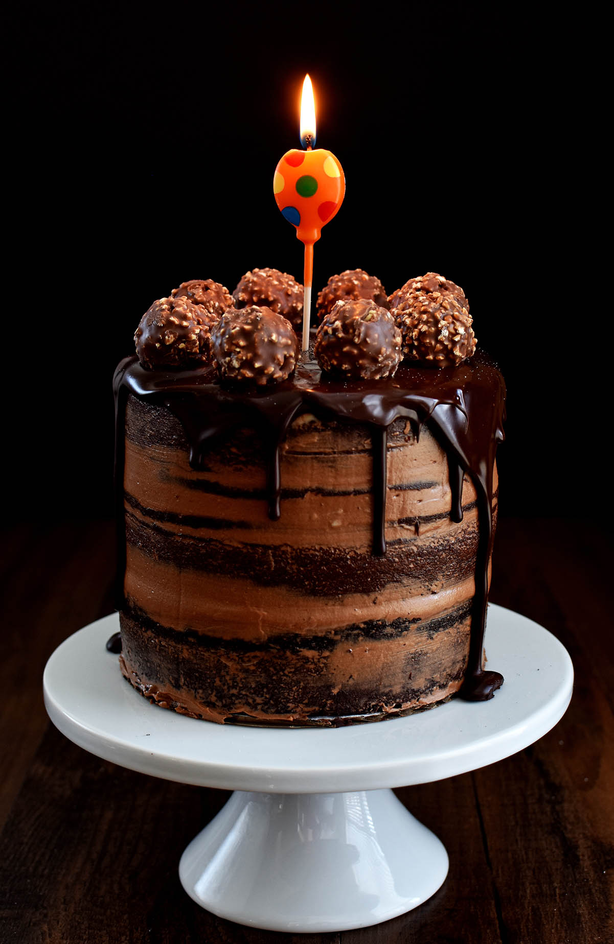 Chocolate Hazelnut Semi Naked Cake With Dark Chocolate