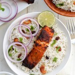 Tandoori Salmon with Rice and Cucumber Yogurt - Pepper Delight #pepperdelightblog #recipe #salmon #fish #tandoori #tandoorisalmon #indian #healthy #cleaneating #summer #fall #grilling #mughlai #seafood #ovencooking #makeaheadrecipes