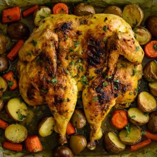 Turmeric Spiced Spatchcock Chicken- Pepper Delight #pepperdelightblog #recipe #chicken #spatchcock #spatchcockchicken #christmasrecipe #thanksgiving #wholechickenroast #chickenroast #onepanmeal #onepandinner #holidayrecipes #festiverecipes #sheetpanchicken #dinner #turmericchicken