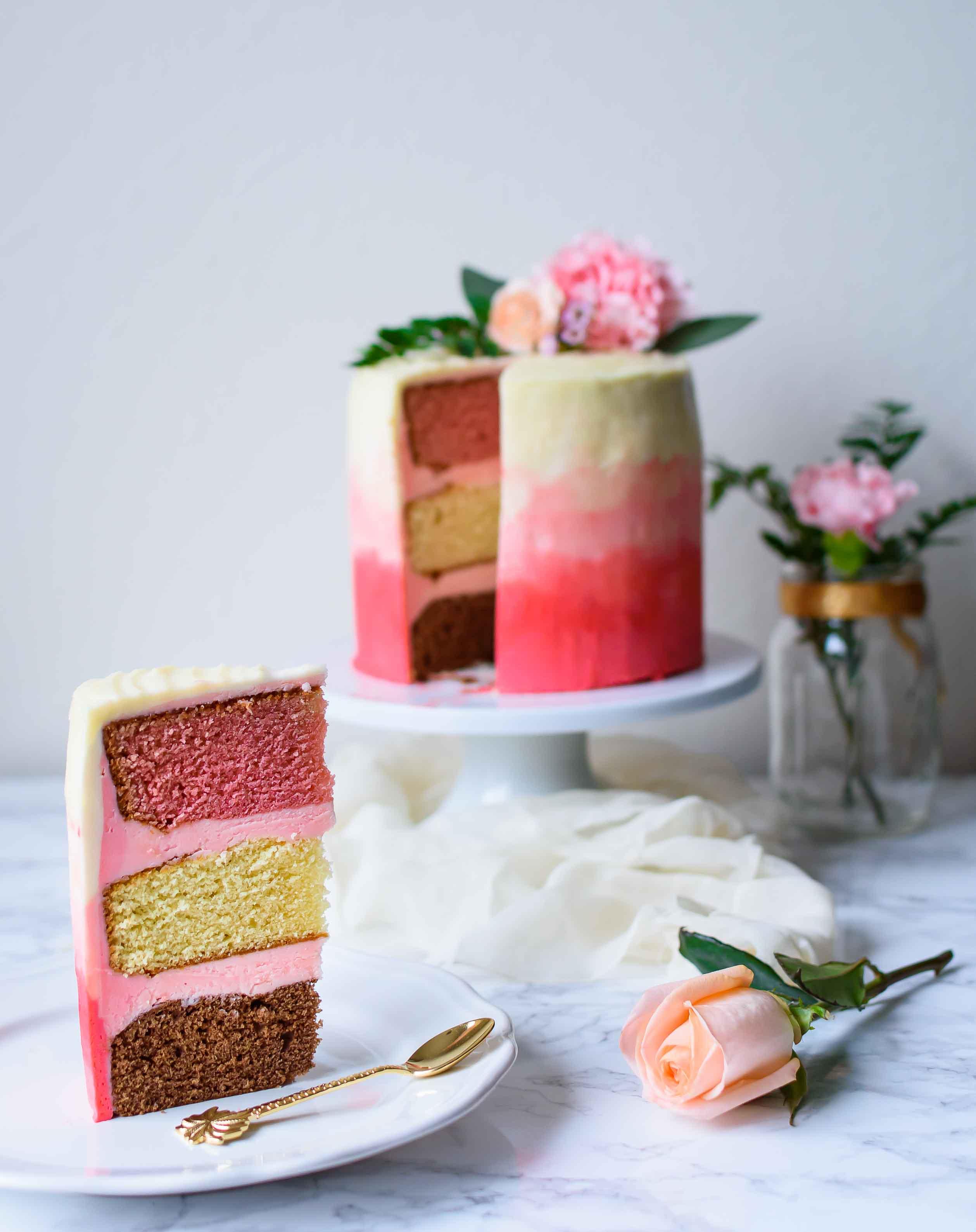 Neapolitan Cake- Pepper Delight #pepperdelightblog #recipe #neapolitancake #neopolitan #cake #strawberrycake #bloganniversary #chocolatecake #ombrecake #celebration #onebowlcake #threetiercake