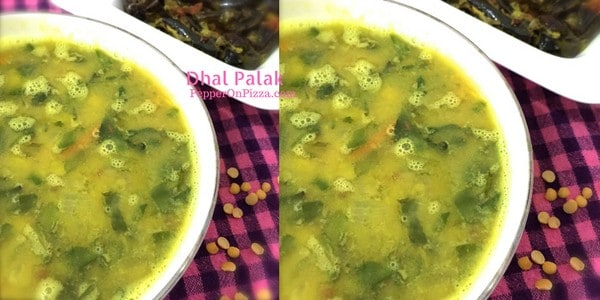 Healthy arhar dhal palak, a stew of lentils and sauteed spinach, tempered with cumin and fenugreek seeds in ghee. Nutritious and very tasty.