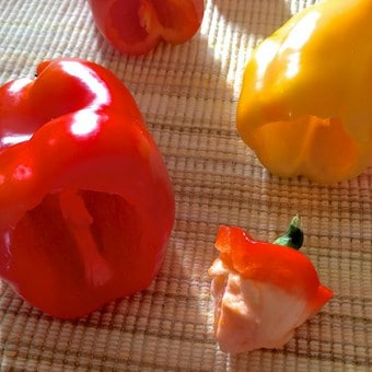 Capsicum being prepared for stuffing by cutting and deseeding while retaining the cut tops