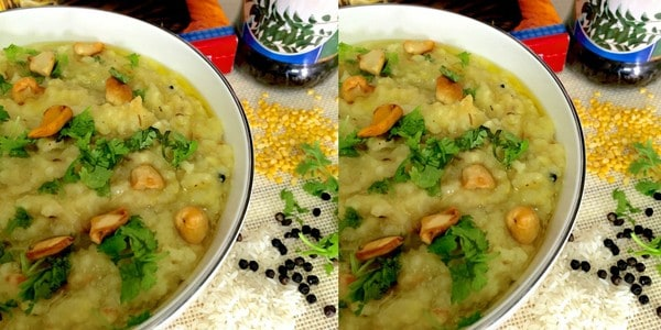 Easy Moong Dhal Khichidi- Rice with green gram lentils