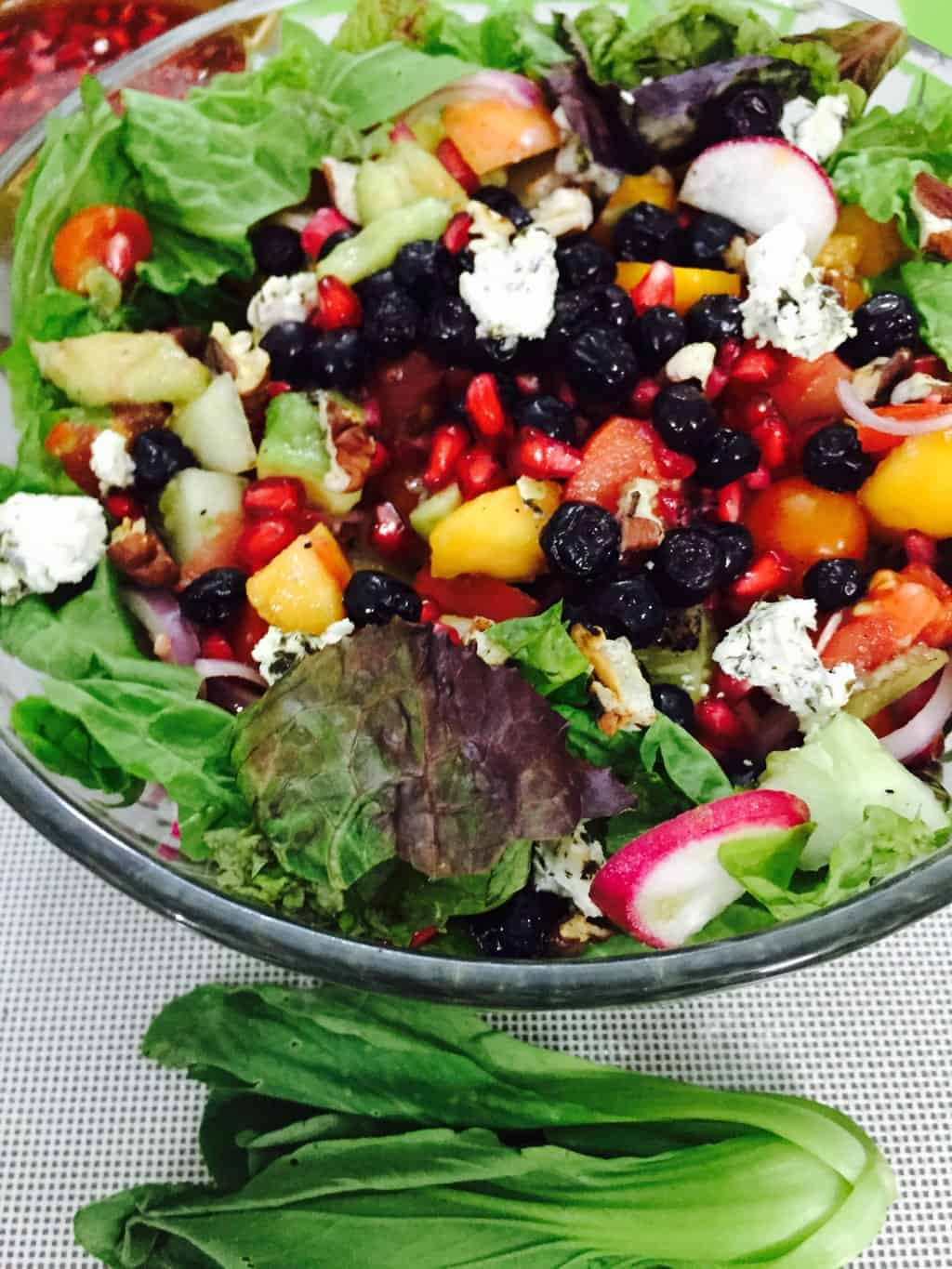 Avocado Berries Salad with Goats Cheese and Lemon Blueberry Dressing