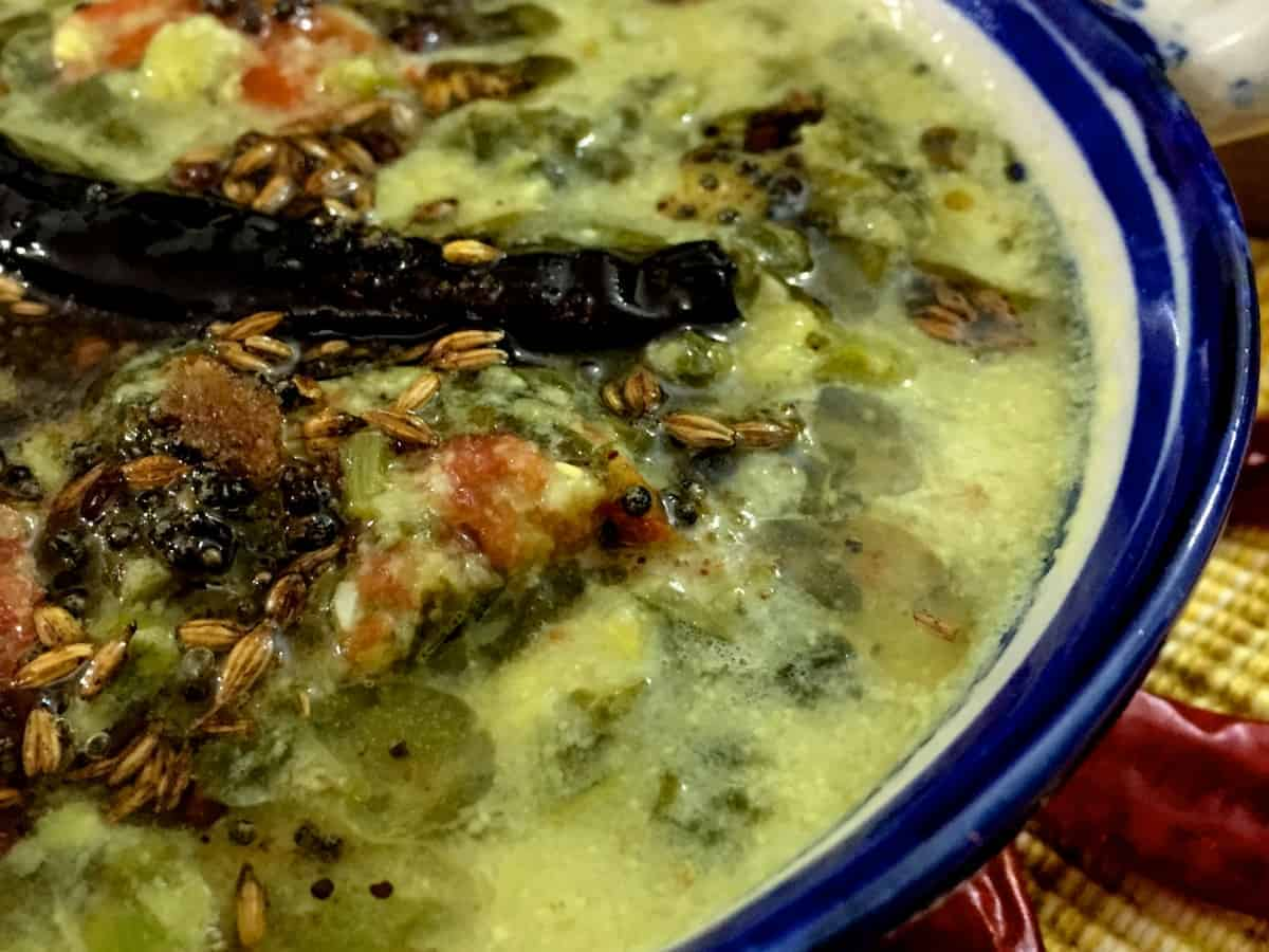 Keerai Kootu: Amaranthus Greens with lentils and cumin coconut-paste