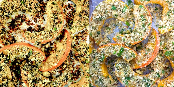 Baked Squash crusted with Parmesan & Herbs