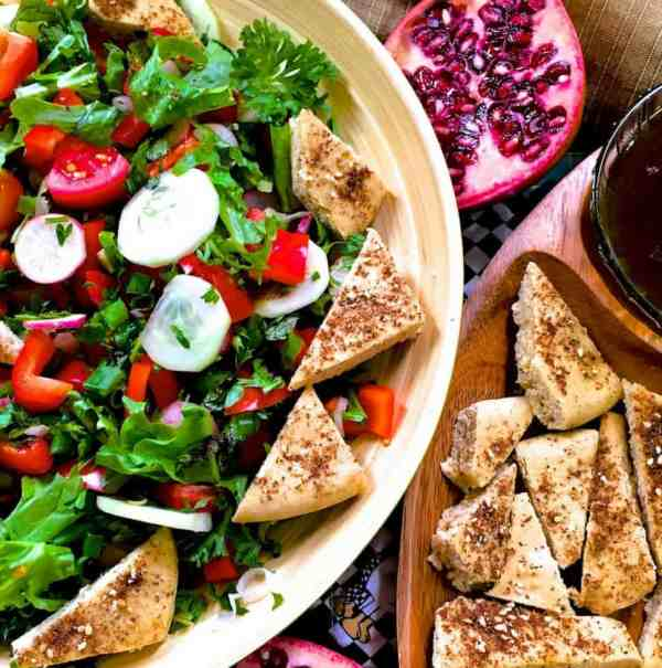 Lebanese Salad Fattoush with sumac sprinkled Pita bread veggies and greens