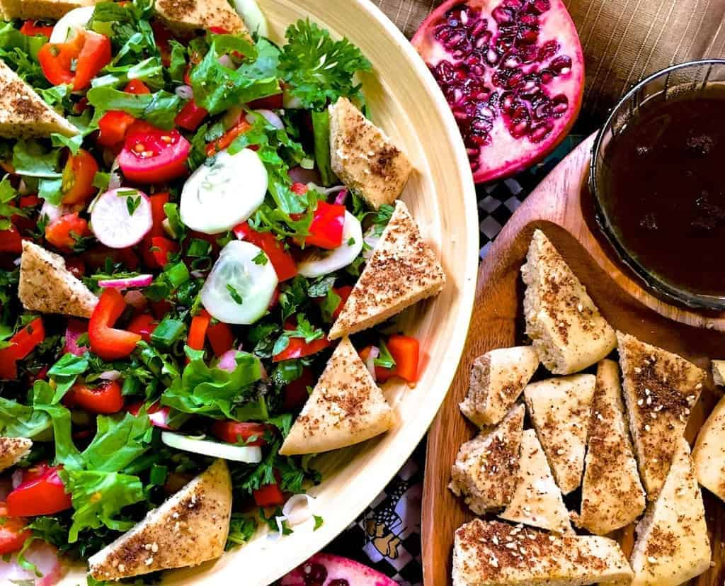 Fattoush Lebanese Bread Salad with pomegranate molasses