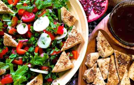 Fattoush Lebanese Bread Salad with pomegranate molasses