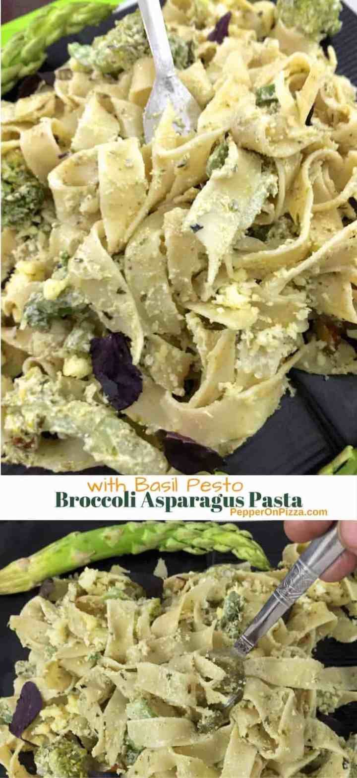 Delicious Broccoli Asparagus Pasta in a creamy sauce with basil pesto and toasted almonds. Easy,  quick to make and with contrasting textures and flavours.