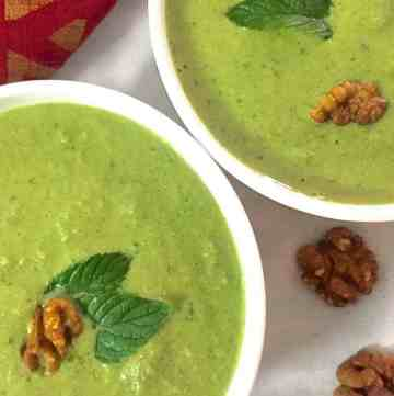 Cucumber Spinach Walnut Chilled Green Gazpacho