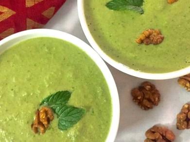 Cucumber Spinach Walnut Chilled Green Gazpacho