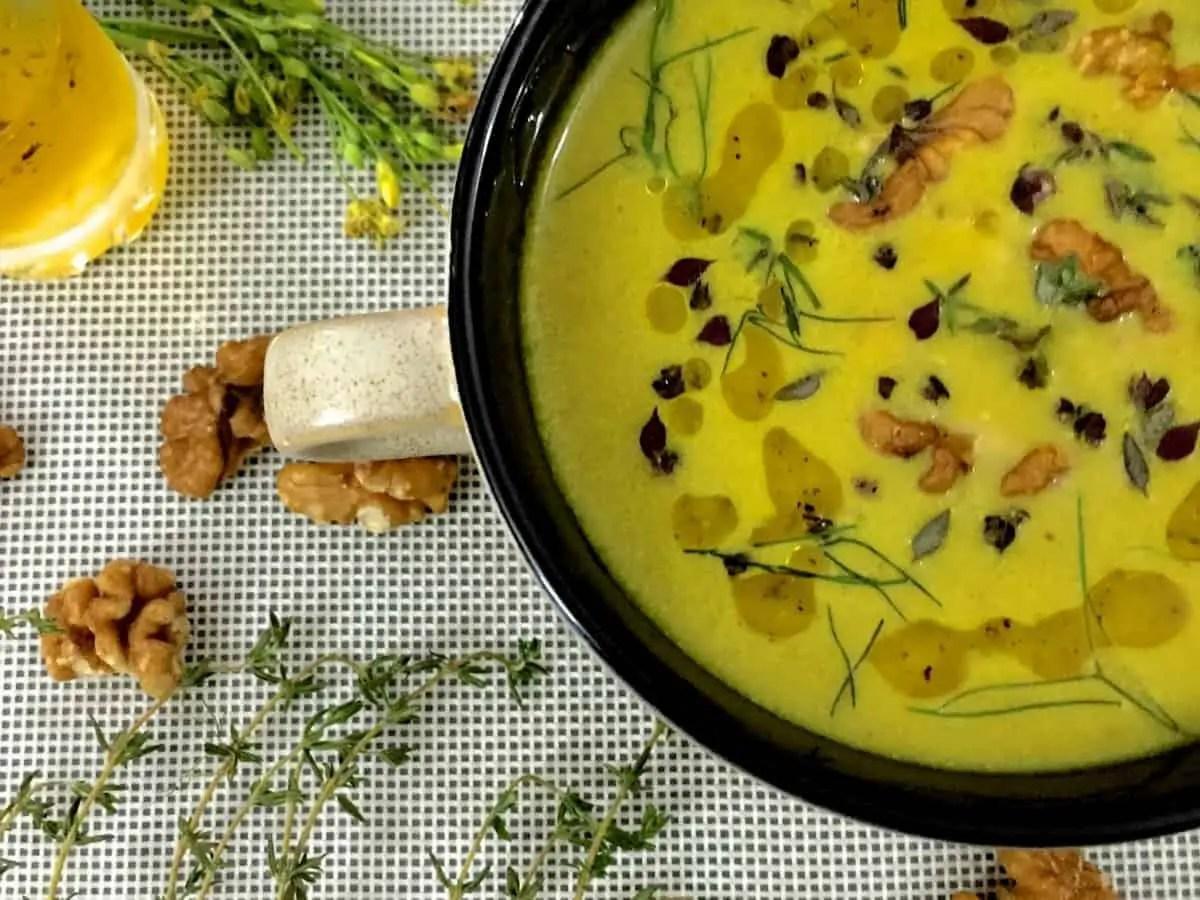 Turmeric Walnuts Fennel Soup with Raw Mango