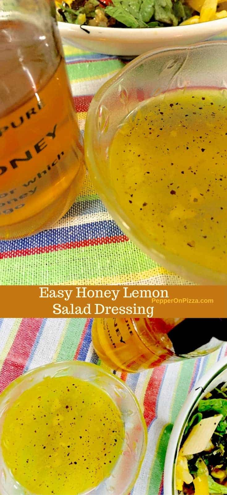 A tangy garlicky Honey Lemon Salad Dressing with the lingering taste of sweet natural Kumaon honey, this healthy dressing goes well with a green leafy salad.