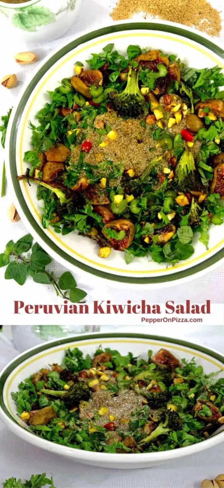 Nutritious salad of heirloom Kiwicha (a form of amaranth) buttermilk dressing, honey roasted figs, charred broccoli, herbs & pistachio nuts.