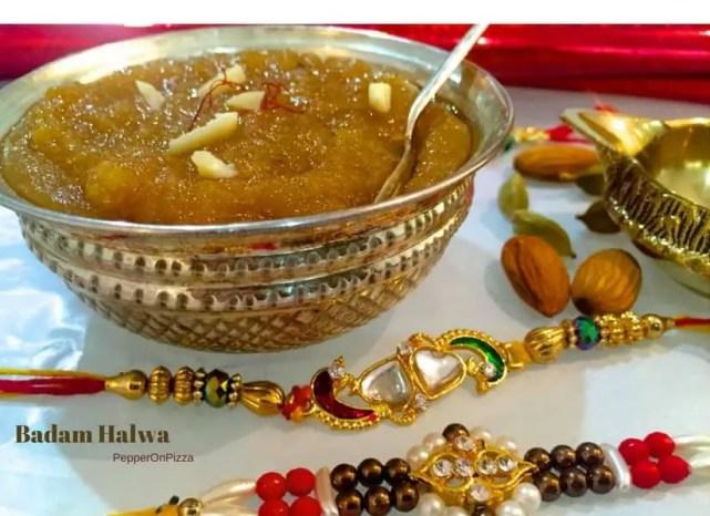 Saffron Almond Pudding Badam Halwa_PepperOnPizza.com