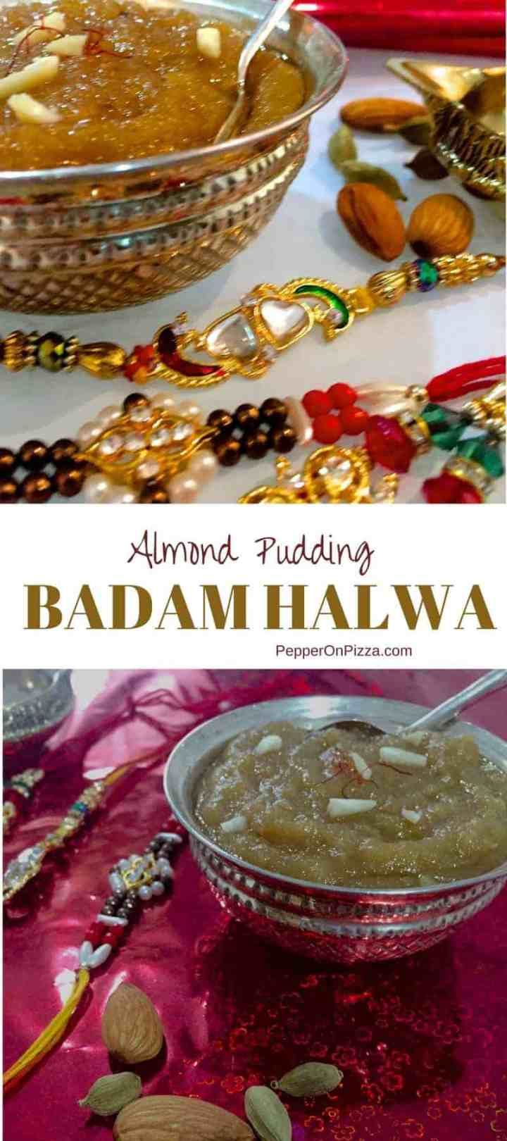Ground almonds sautéed in ghee, sugar and milk and flavoured with saffron and cardamom - this Badam Halwa is a rich and tasty dessert