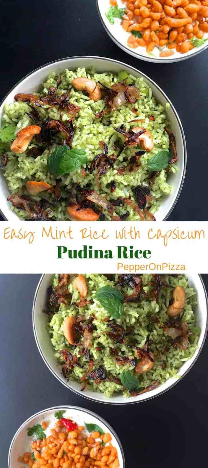 Healthy Easy Pudina Rice or Mint Rice - delicious rice dish of cooked rice with spiced mint sauce, sautéed capsicum, browned onion, cashew.