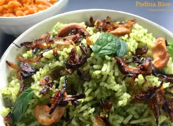 Pudina Rice_garnish Browned Onions_PepperOnPIzza.com