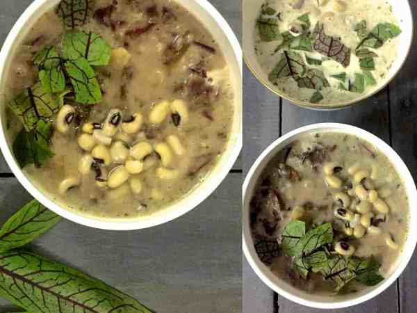 French style 2 Bean Sorrel Soup from Red veined sorrel leaves, french beans, black eyed peas, parsley, tarragon, fennel. Nutritious soup for chill weather