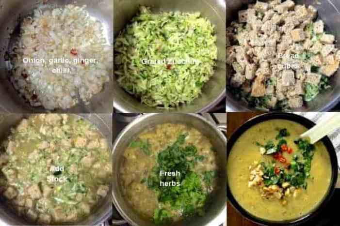 Steps for making curried chilli zucchini soup. 6 images showing sauteing onion and chillies, adding grated green zucchini, adding bread cubes, adding stock and then herbs. Finally the pureed and garnished soup,