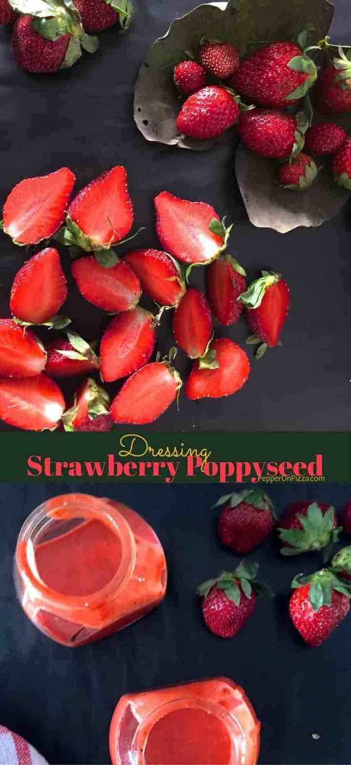 Really Easy Strawberry Poppyseed Dressing with Chia Seeds for a delicious and healthy Dip or Salad dressing. Takes less than 10 minutes!