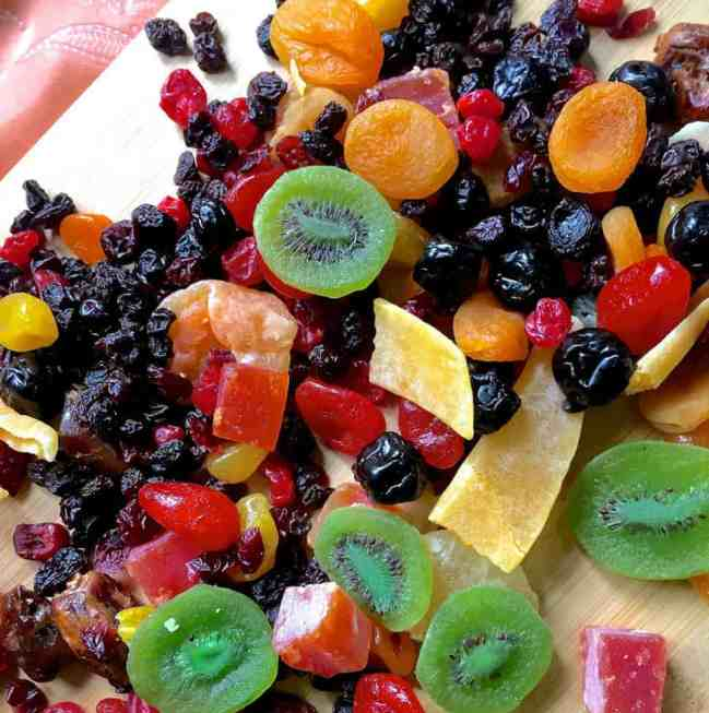Soak fruits for Christmas cake - a colourful array of dry fruits ready to be cut and soaked
