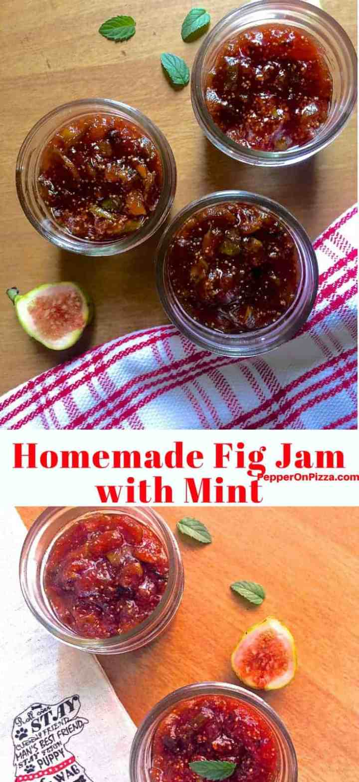 Homemade fig jam with mint and no artificial pectin. Easy and quick to make and Includes a guide to ingredients and proportions and how to test whether the jam is done.