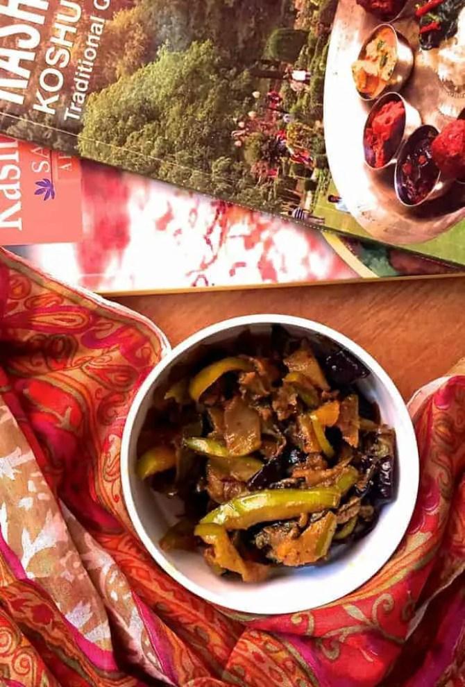 Kashmiri Green Apple Baingan Curry