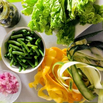 Ingredients for Preparing the Pesto Green Bean Ribboned Zucchini Salad
