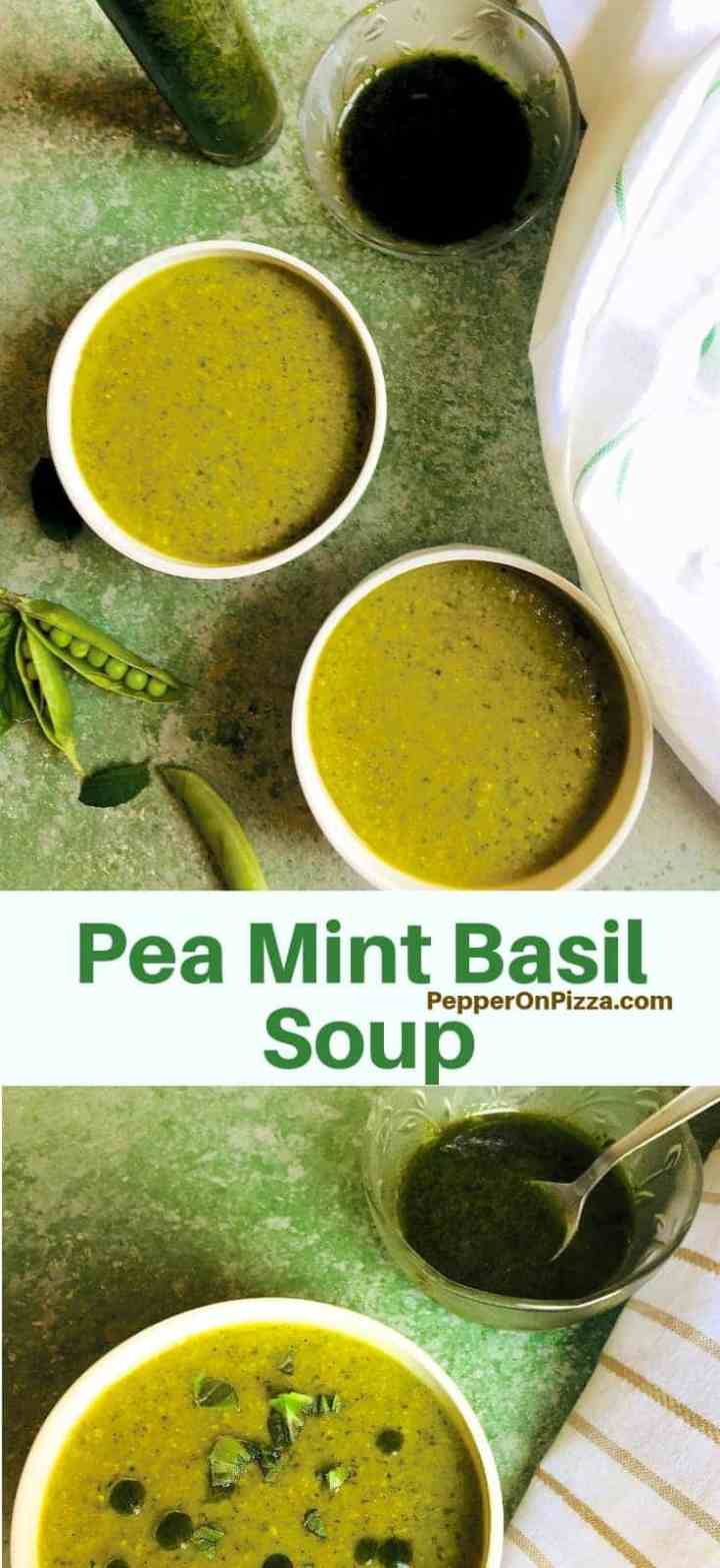 Green Pea Mint Basil Soup, a delicious nourishing winter soup. With only a few ingredients and very little prep, this soup is comfort food on dull days. Tastes nice even a day or two later. Garnish with homemade Basil Oil for an extra special flavour