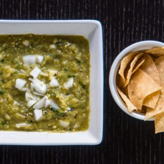 Roasted Tomatillo Salsa Recipe | Salsa Verde with broiled tomatillos, onions, peppers, garlic