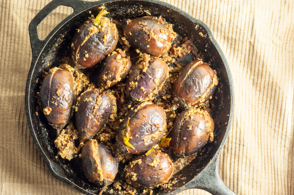 Stuffed Baby Eggplants - Cooked (overhead in pan)4
