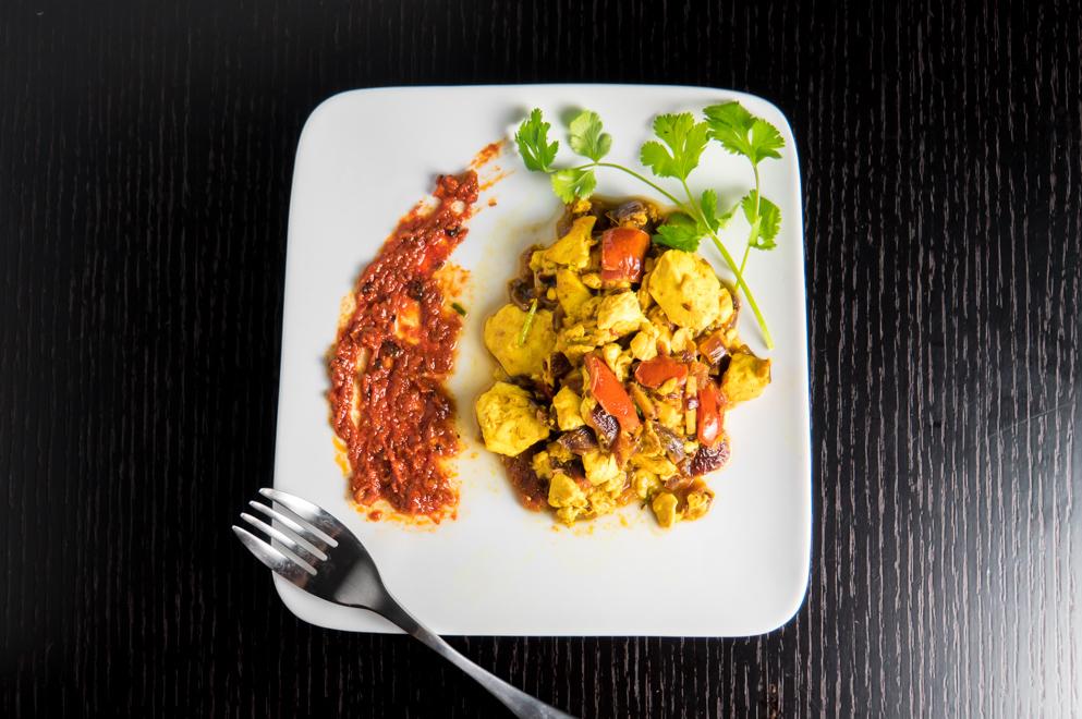 Tofu Bhurji - served (overhead)