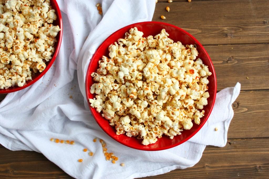 Cheezy Sriracha Stove Top Popcorn