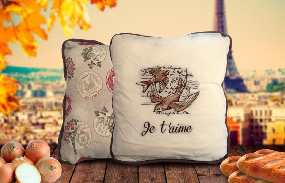 French themed cushion comped together to create a creative hero image for the product