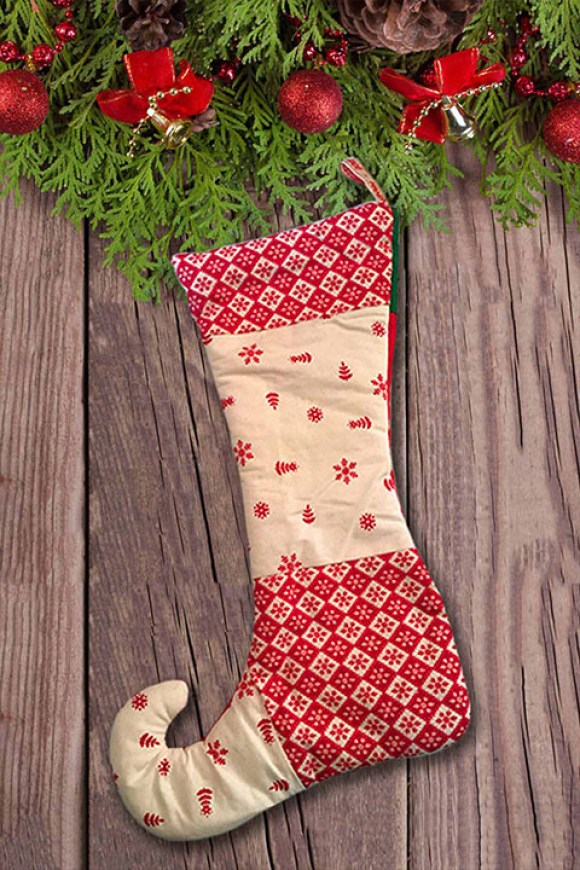 Christmas themed stocking comped together to create a creative hero image for the product