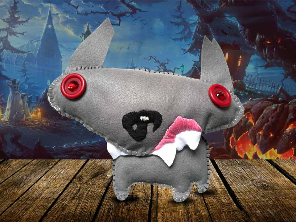 Handmade plush dog toy comped together to create a creative showcase image for the product