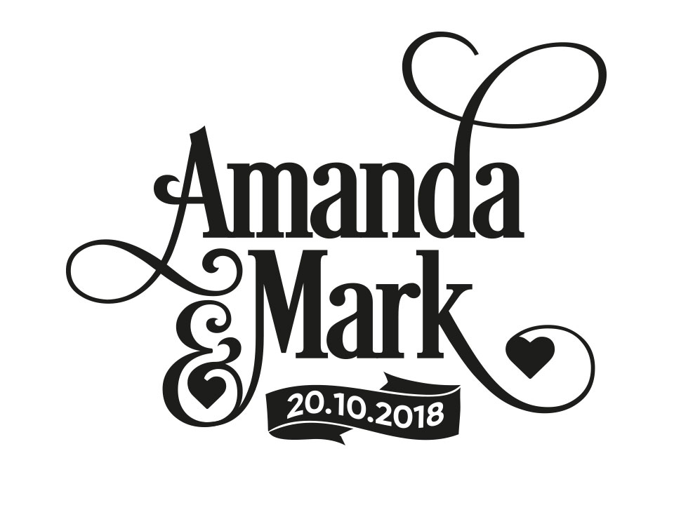 Black and White Typographic Design with Two Names Amanda and Mark
