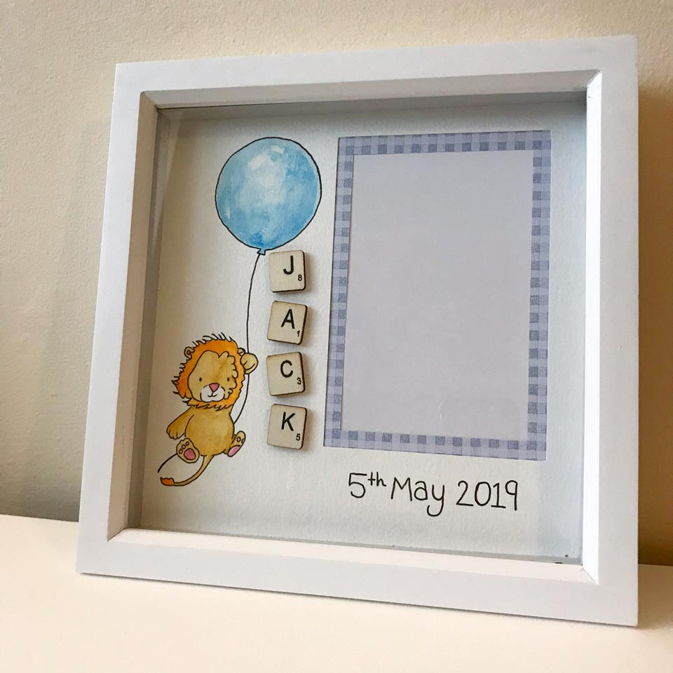 handmade nursery decor completed custom box frame for a baby boy