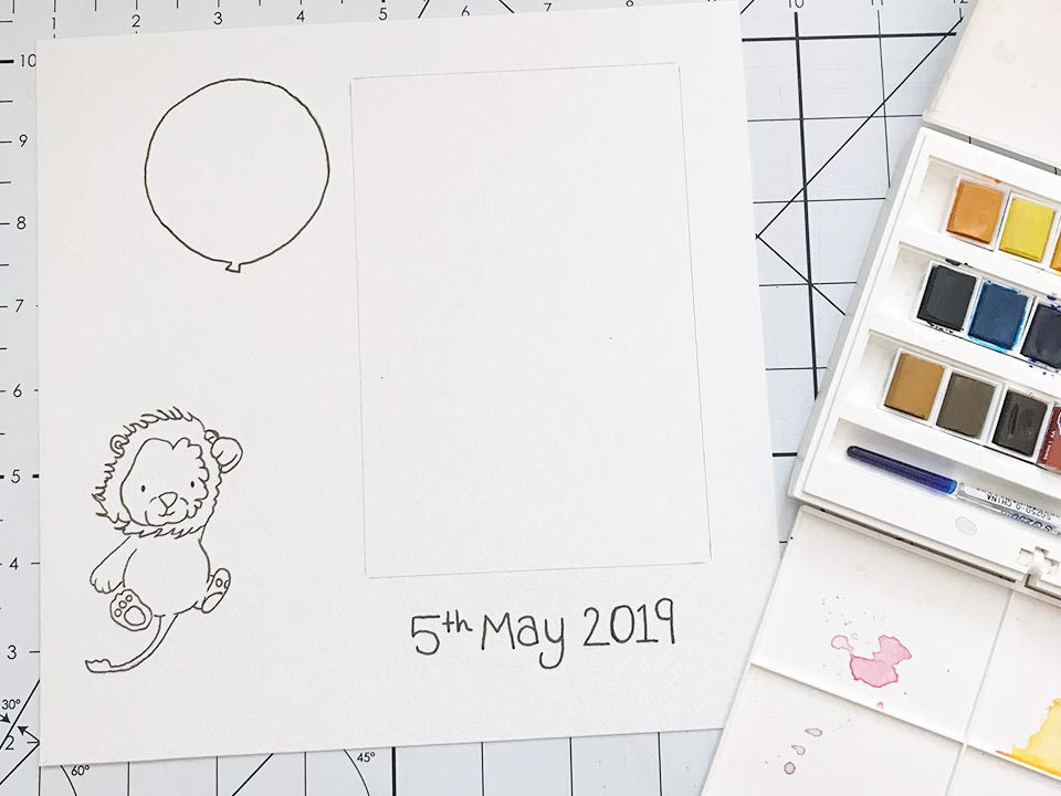 outlined design of a baby lion holding a balloon. Ready to paint
