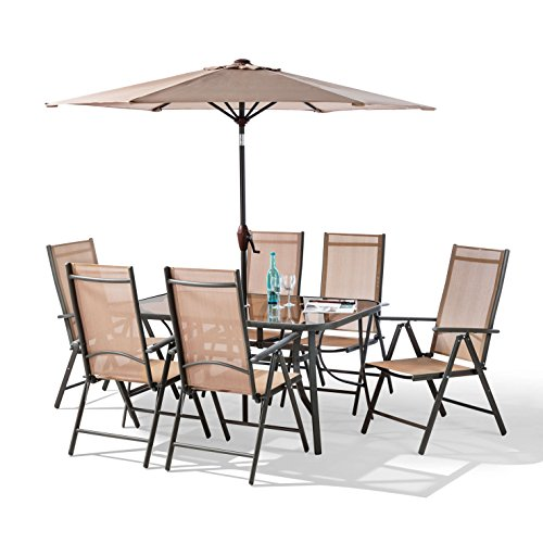 Santorini Garden and Patio Set – New 2017 Model, Now With 100 Aluminium Framework NON RUST -6 x Multi Position Recliner Chairs-Table – and 2.2 Metre Tilt and Crank Parasol, 8 Piece