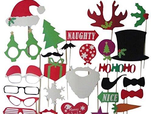27pcs Christmas Santa Hat Party Masks Photo Booth Props Mustache On A Stick