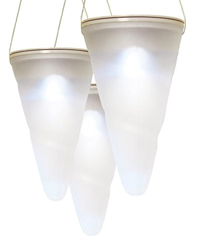 Solarize ® Hanging Cone Solar Lights with White LED, pack of 3