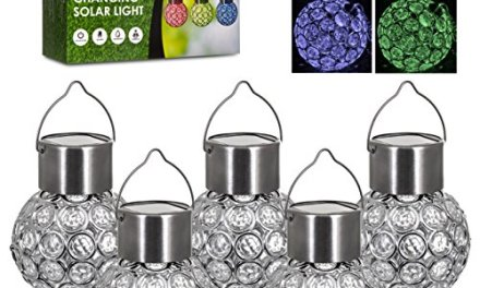 Hillington ® Pack of 5 Crystal Colour Changing Solar Light – Multi-Coloured Round Ball Hanging Wall Mounted Weatherproof Solar Powered Rechargeable Colourful Outdoor Garden Path Fence Wall Walkway Decking Patio Lights with Auto On Off Dusk Dawn – Easy to Install with No Wiring Required
