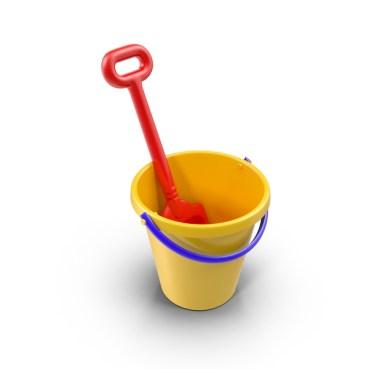 cubo de juguete con pala
