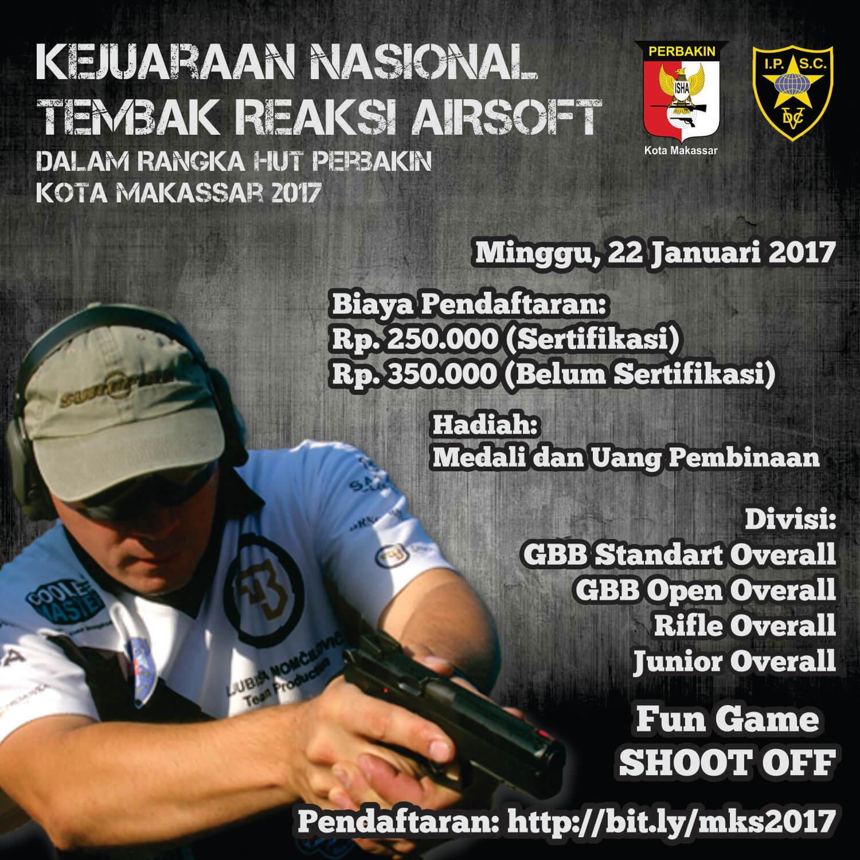 Kejuaraan Nasional Tembak Reaksi Airsoft Dalam rangka HUT Perbakin Kota Makassar Tahun 2017